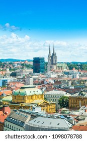 Panoramic view on Zagreb center and catholic cathedral, Croatia