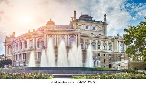 Panoramic view of Opera and Ballet Theater in Odessa, Ukraine.