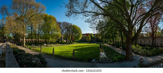 "Panoramic view from the orangery to the listed ""Körnerpark"" in Berlin-Neukölln - Panorama from 8 pictures (public park from the 1910s, no property release required)"