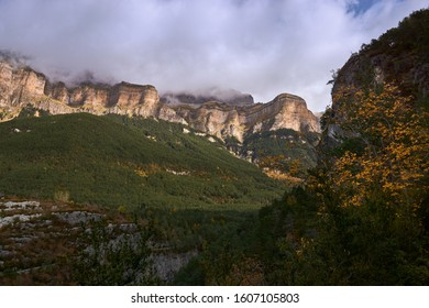 Panoramic view of the Ordesa National Park in Autumn