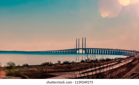 Panoramic View to the Oresund Bridge in the Eveneing, Sweden and Denmark