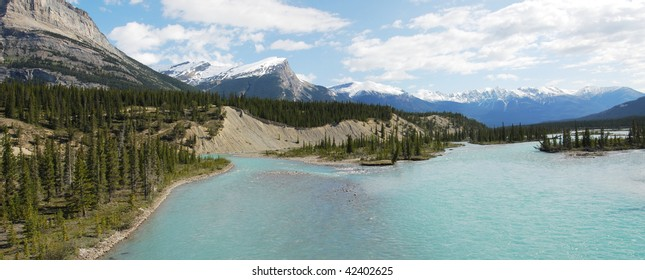Panoramic view of the origin of north saskatchewan river from snow mountains at banff national park, alberta, canada