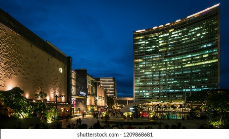 A panoramic view of Orion Mall, World Trade Center and the Brigade Gateway complex, Bangalore, India. Photographed on 17-April-2018
