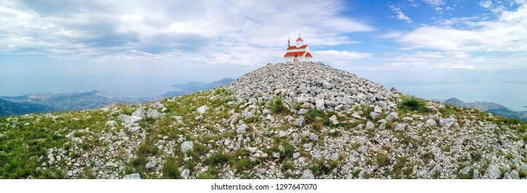 Panoramic view of orthodox church on the top of mount Rumija in Bar municipality, Montenegro