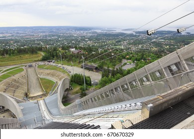 Panoramic view of Oslo from  top of  Holmenkollen ski jump