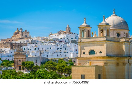 Panoramic view of Ostuni in a sunny summer day, Apulia (Puglia), southern Italy.