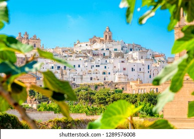 Panoramic view of Ostuni (white town), province of Brindisi, Apulia, southern Italy.