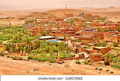 Panoramic view of Ouarzazate - the door of the desert is in south-central Morocco. It is located in foothills of the High Atlas. The fortified village of Aït Benhaddou is a UNESCO World Heritage Site