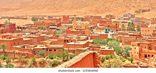 Panoramic view of Ouarzazate - door of the desert is in south-central Morocco, located in foothills of High Atlas. Fortified village of Aït Benhaddou is a UNESCO World Heritage Site