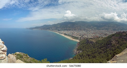 panoramic view over Alanya and the mediterranean seaside (5 connected pictures).