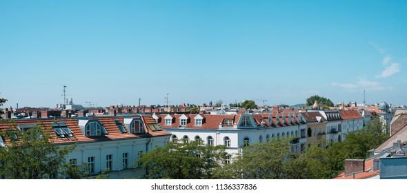 Panoramic view over Berlin City skyline - rooftops above Berlin