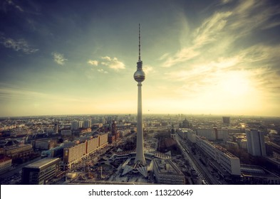 Panoramic view over Berlin at evening from the roof of the Hotel Park Inn Berlin, Panoramablick auf Deutschlands Hauptstadt Berlin am Abend vom Dach des Park Inn Hotel Berlin, vintage style