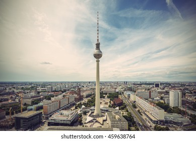 Panoramic view over Berlin at evening from the roof of the Hotel Park Inn Berlin, Vintage filtered Style