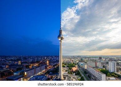 Panoramic view over Berlin at evening from the roof of the Hotel Park Inn Berlin, Day and night collage
