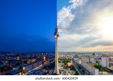 Panoramic view over Berlin at evening, Day and night collage with lens flare
