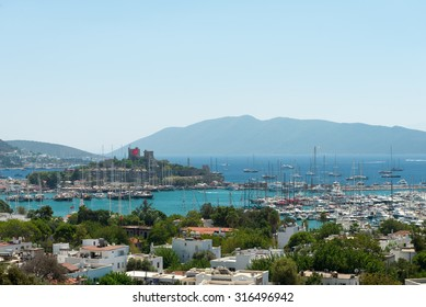 Panoramic view over Bodrum Castle and city
