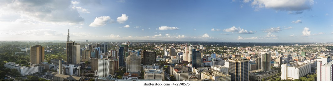 Panoramic view over the central business district of Nairobi, Kenya