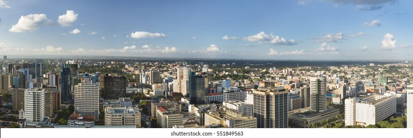 Panoramic view over the central business district of Nairobi, Kenya from a high observation point