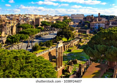 Panoramic view over central Rome, Italy