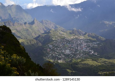 Panoramic view over Cilaos village during the ascent to the Piton des Neiges in Réunion island