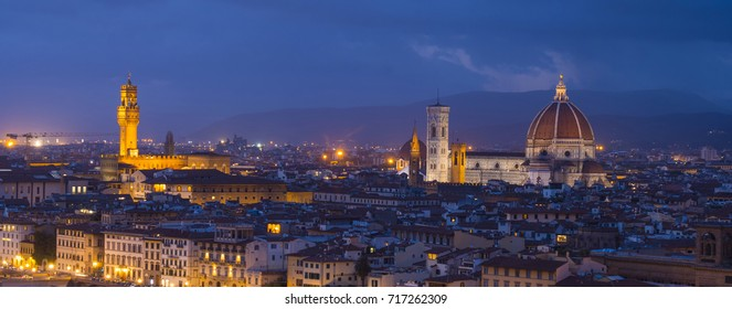 Panoramic view over the city of Florence from Michelangelo Square called Piazzale Michelangelo