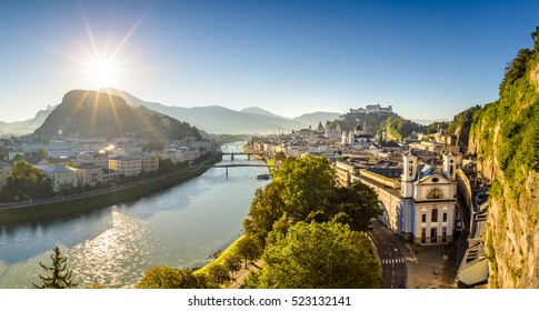 Panoramic view over city Salzburg at summer morning, Salzburg, Austria