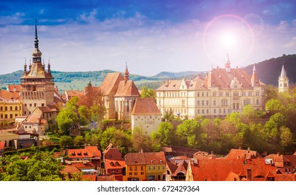 Panoramic view over the cityscape architecture in Sighisoara town, historic region of Transylvania, Romania