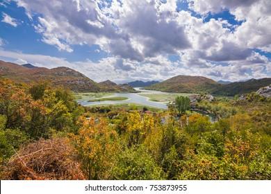 Panoramic view over Crnojevice River, Lake Skader National Park, Balkan Peninsula, Montenegro Europe