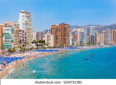 Panoramic view over crowded beach of Benidorm, Spain