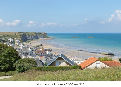 Panoramic view over the D-day beaches Golden Beach at Arromanches les Bains, Normandy, France