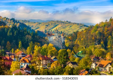 Panoramic view over Dracula medieval Castle Bran in autumn season, the most visited tourist attraction of  Brasov, Transylvania, Romania