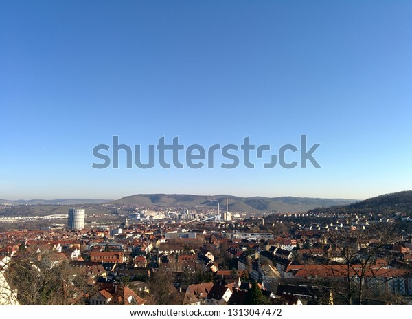 Panoramic view over the eastern part of the german town Stuttgart with the industrial monument Gaskessel
