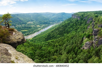 Panoramic view over the Elbe valley, Elbe Sandstone Mountains, Bohemian Switzerland National Park, Czech republic, Europe
