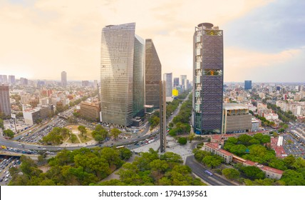 Panoramic view over the famous trail of light on one side of the famous Reforma Avenue full of office buildings