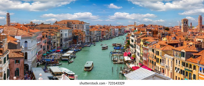Panoramic view over the Grand Canal and the skyline in Venice, Italy