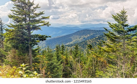 Panoramic View over the Great Smoky Mountains in Tennessee