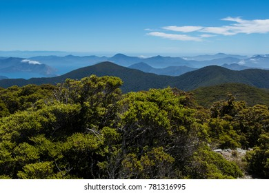 Panoramic view over green mountains of New Zealand