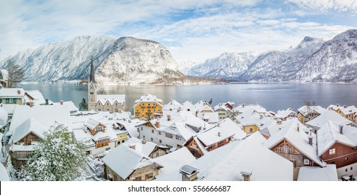 Panoramic view over Hallstatt in winter, Salzkammergut, Austria