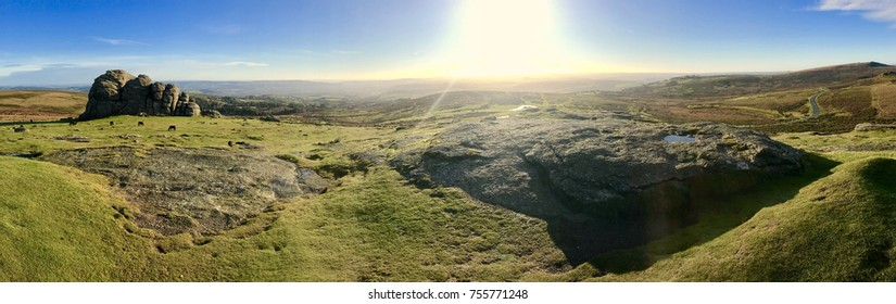 Panoramic view over Haytor and Dartmoor with wild ponies grazing on an autumn morning with deep blue skies and green grass