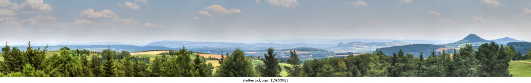 Panoramic view over the Hegau, the volcanic and castle land on the western shore of Lake Constance is a popular holiday region in Germany.