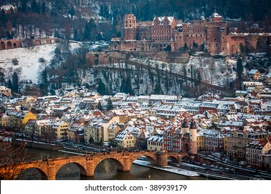 Panoramic view over Heidelberg castle and the old city
