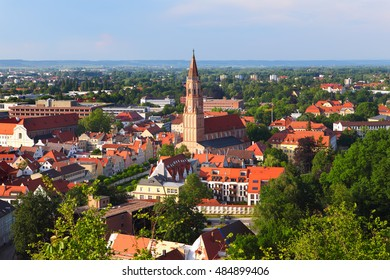 Panoramic view over the historic city of Landshut, Bavaria, Germany, from the castle hill.