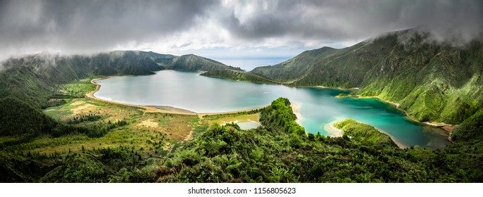 Panoramic view over Lagoa do Fogo at Sao Miguel island, the Azores