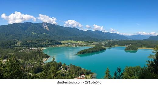 Panoramic view over The Lake Faak / Carinthia / Austria