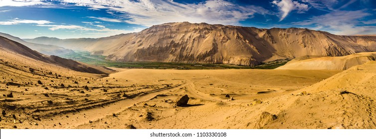 "A panoramic view over the ""Lluta"" river valley at Arica and Parinacota Region, North Chile. An impressive water use inside the Atacama Desert."