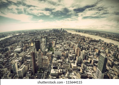 panoramic view over Manhattan, New York city from Empire State building, vintage style, New York City, USA