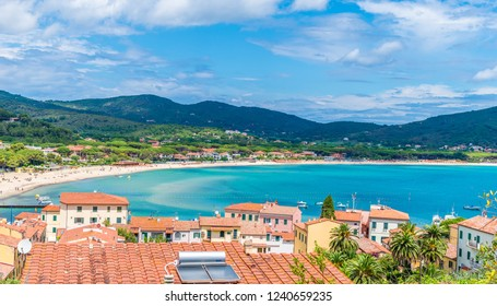 Panoramic view over marina di campo town in Elba Island, Tuscany, Italy.
