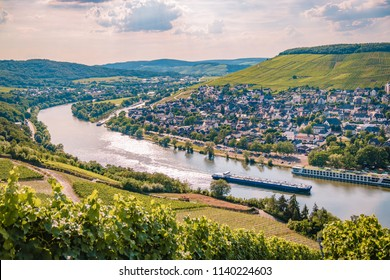 Panoramic view over the Mosel river by Bernkastel Germany