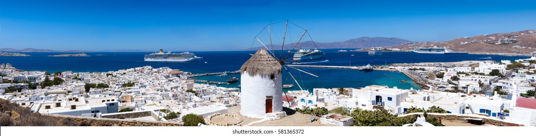 Panoramic view over Mykonos town, Greece, no power wires, no people