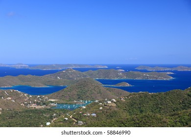 Panoramic view over northern St. John, US Virgin Islands
